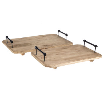 Flat Wood Tray Set with Metal Handles
